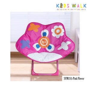 SYM151 KID'S PINK FLOWER FOLDING MOON CHAIR