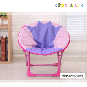 SYM194 KID'S PURPLE CROWN FOLDING MOON CHAIR