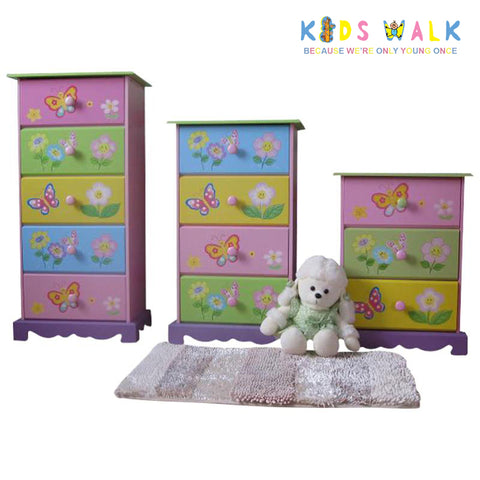 TY10060P PINK BUTTERFLY 3 DRAWER CHEST