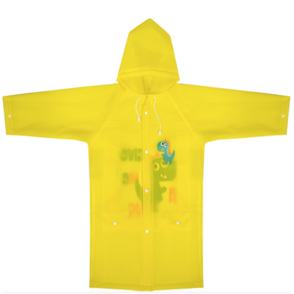YELLOW DINOSAUR PONCHO WITH SCHOOL BAG COVER