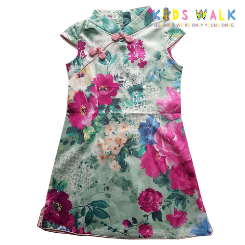 YM-43 LIGHT GREEN FLORA PRINT KIDS CHEONGSAM