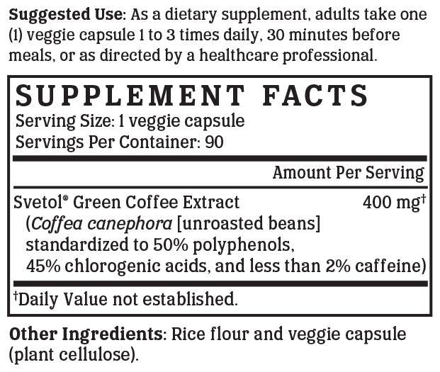 Green Coffee Gold - 400 mg (Clinically proven Svetol®)