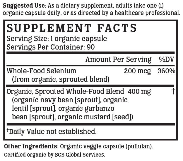 Selenium Gold - 200 mcg (Organic, Whole-food, Plant-based)