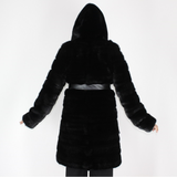 Black mink coat with hood