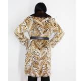 OMIKRON Lynx pieces coat with mink collar