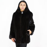 Black mink jacket with hood