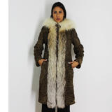 Astrakhan brown coat with hood and crystal fox trimming