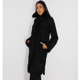 Astrakhan black coat with mink collar