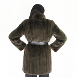 Colored Khaki mink ¾ coat