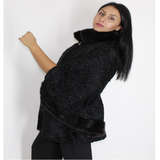 Astrakhan black and black mink trimming