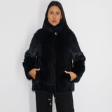 Blue-black colored mink sport jacket