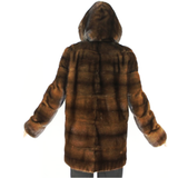 Demi-buff mink jacket with hood
