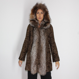 Astrakhan brown jacket with crystal fox trimming and hood