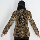 Ocelot jacket with mink collar