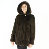 Colored Khaki mink jacket with hood