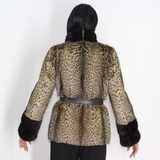 Libya cat jacket with mink trimming
