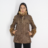 Astrakhan brown jacket with mink trimming