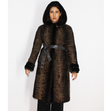 Astrakhan brown coat with hood and brown mink trimming