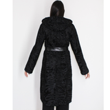 Astrakhan black coat with astronaut hood