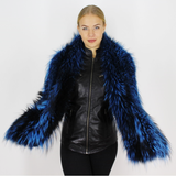 Electric Blue colored silver fox stole/scarf