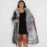 Astrakhan grey coat with sapphire mink trimming