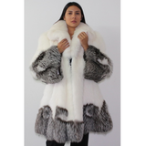 Combination of Snow and silver fox coat