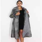Astrakhan Broadtail grey coat with grey mink trimming