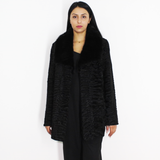 FI Astrakhan black jacket with black mink collar