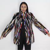 Multi-color mink jacket