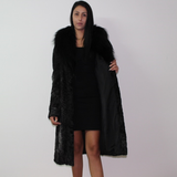 Astrakhan anthracite coat with fox collar