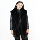 Black shaved nutria vest with mink trimming