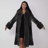 Astrakhan Anthracite coat with mink trimming