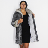 Astrakhan grey ¾ coat with sapphire mink trimming