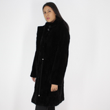 Black shaved mink pieces coat with hood