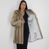 Silver grey mink ¾ coat with hood