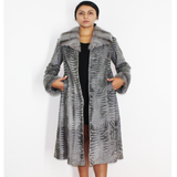 EIKOSIPENTE Astrakhan Broadtail grey coat with grey mink trimming