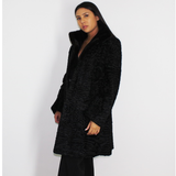 Astrakhan black coat with black mink collar