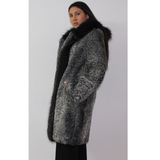 Astrakhan grey coat with hood