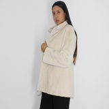 Ivory shaved mink jacket