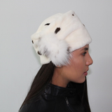 White Shaved mink with dark stigmas hat