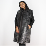 Grey Astrakhan long vest with grey mink trimming