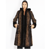 OMIKRON Astrakhan brown coat with hood and brown mink trimming