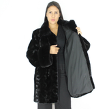 Black mink pat jacket with mink trimming