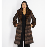 Brown astrakhan coat with brown mink trimming
