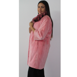 Colored shaved pink mink coat with chinchilla collar
