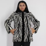 Black and white shaved mink pieces jacket