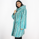 Turquoise shaved mink pieces coat with hood