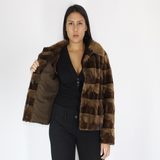 Demi-buff shaved mink pieces jacket