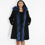 Astrakhan black coat with blue electric colored fox