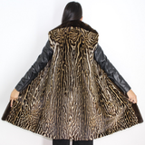 Ocelot vest with brown mink trimming